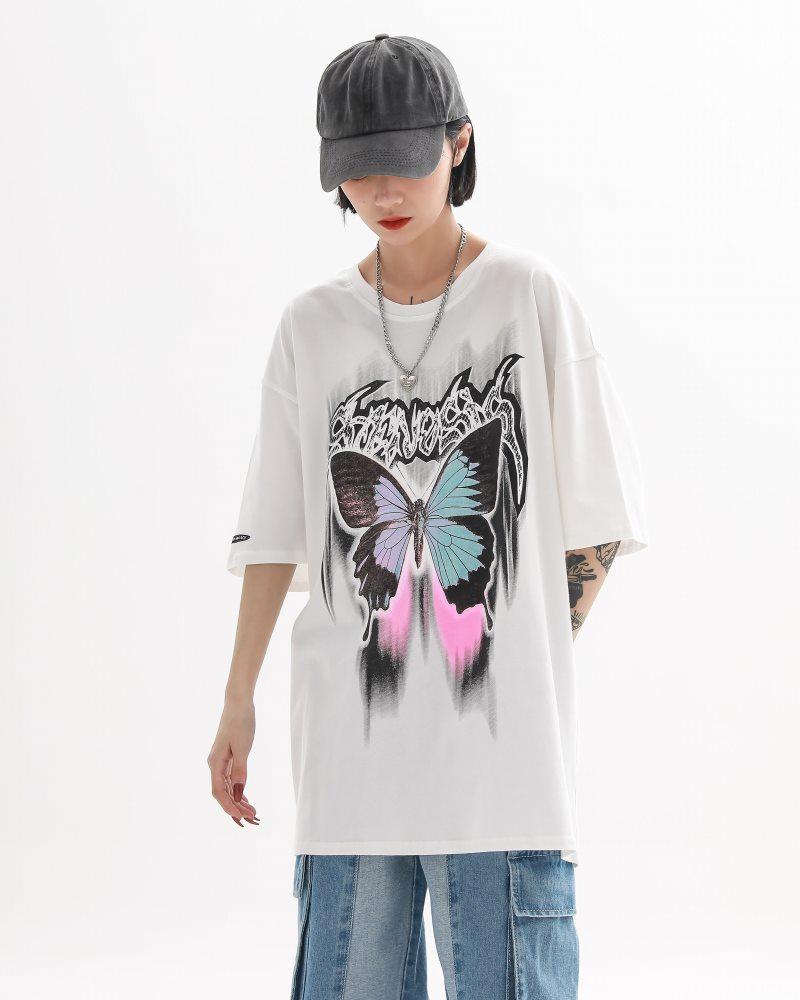 《2色》バタフライメタルロゴTシャツの画像1